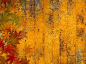 stock photo of fall decorations  - Grunge autumn background with fall leaves - JPG