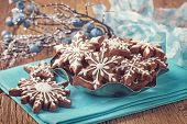 stock photo of cookie  - Gingerbread cookies and christmas decoration - JPG