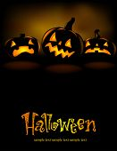 stock photo of jack-o-lantern  - Halloween banner with three spiteful Jack o Lanterns - JPG