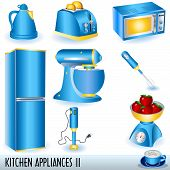 stock photo of kitchen appliance  - Collection of eight blue kitchen appliances - JPG