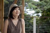 picture of safari hat  - Asian woman wearing safari hat - JPG