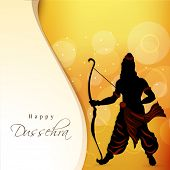 stock photo of dussehra  - Silhouette of lord Ram holding his bow on bright orange background with stylish text Happy Dussehra - JPG
