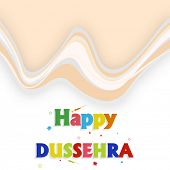 stock photo of dussehra  - Illustration of colourful Happy Dussehra text with small crackers on seamless background - JPG