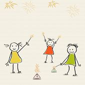 stock photo of laxmi  - Illustration of small girls playing with crackers  in comic way - JPG