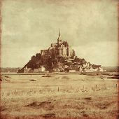 picture of mont saint michel  - Old style photo of Mont Saint Michel - JPG