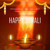 stock photo of diya  - illustration of burning diya on Diwali Holiday background - JPG