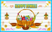 pic of diya  - illustration of Happy Diwali Background with firecracker and diya - JPG