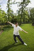stock photo of tai-chi  - Senior Asian man practicing tai chi - JPG