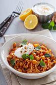 stock photo of cardamom  - Pasta with tomato sauce - JPG