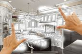 stock photo of interior sketch  - Female Hands Framing Custom Kitchen Design Drawing and Photo Combination - JPG