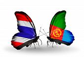 pic of eritrea  - Two butterflies with flags on wings as symbol of relations Thailand and Eritrea - JPG