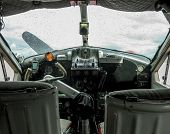 picture of hydroplanes  - Detail of the cockpit of an old seaplane used for sightseeing - JPG