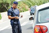 picture of special forces  - Italian special military police force carabinier checking driving documents - JPG
