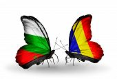 pic of chad  - Two butterflies with flags on wings as symbol of relations Bulgaria and Chad Romania - JPG