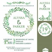 pic of decorative  - Retro wedding design template with watercolor green branches wreath - JPG