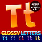 foto of letter t  - Vector set of glossy modern alphabet in different colors - JPG