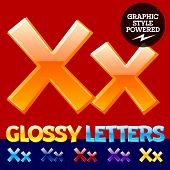 foto of letter x  - Vector set of glossy modern alphabet in different colors - JPG