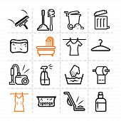 image of dust-bin  - Elegant Vector Black Cleaning Line Icons Set - JPG