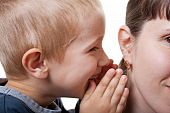 foto of human ear  - Little human child boy mother ear secrecy whisper - JPG