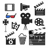 foto of popcorn  - Set of cinema filmmaking and video production vector web and mobile logo icons isolated on white - JPG