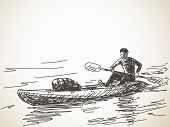 stock photo of canoe boat man  - Sketch of kayaking man - JPG