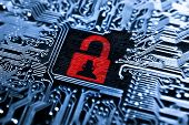 foto of hack  - a hacked symbol od a red open padlock on computer circuit board - JPG