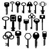 stock photo of skeleton key  - Illustration with silhouettes of keys isolated on white background - JPG