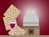 pic of synagogue  - Three matzah plate and glass of wine in front of Synagogue - JPG