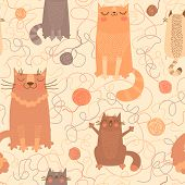 stock photo of baby cat  - Seamless pattern with cute cats and balls of yarn - JPG