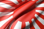 image of japanese flag  - 3d rendering of an old japanese flag - JPG