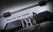 foto of time machine  - Vintage inscription made by old typewriter Time for new content - JPG