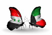 stock photo of kuwait  - Two butterflies with flags on wings as symbol of relations Syria and Kuwait - JPG
