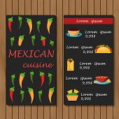 picture of mexican food  - Template for menu or booklet with cartoon mexican food for your design - JPG
