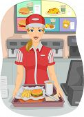 image of cashiers  - Illustration of a Female Cashier at a Fast Food Restaurant - JPG