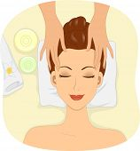 foto of facials  - Illustration of a Woman Having Facial Mask Applied to Her Face - JPG