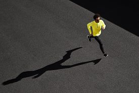 stock photo of cardio exercise  - Running man sprinting for success on run - JPG