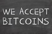 image of bitcoin  - WE ARE ACCEPTING BITCOINS conept for business with bitcoins - JPG