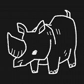stock photo of rhino  - Rhino Doodle - JPG
