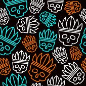 pic of headdress  - Seamless pattern skull in headdress redskin - JPG