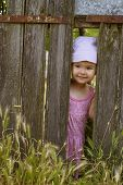 stock photo of gap  - Little girl playing peek a boo through a gap in a broken plank in a rustic wooden fence - JPG