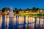 stock photo of fountain grass  - Night view of River Torrens and Fountain in Elder Park - JPG