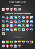image of south american flag  - Set of glossy button flags  - JPG