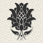picture of arabic  - Arabic floral ornament on abstract seamless geometric wallpaper pattern for your design - JPG