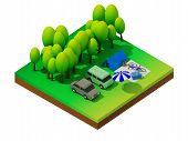 picture of isometric  - Isometric forest camping - JPG