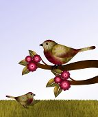 stock photo of grass bird  - Beautiful red and brown bird sits on red blossoming tree limb - JPG