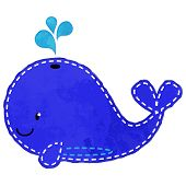 picture of stitches  - Vector Watercolor Style Whale with Stitching and Splashing water - JPG