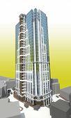 pic of high-rise  - High rise modern building reflect light yellow - JPG