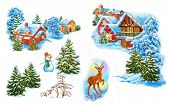 picture of snow queen  - Set cartoon winter landscape the house and trees for fairy tale Snow Queen written by Hans Christian Andersen - JPG
