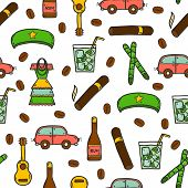 Seamless background with cute hand drawn colorful objects on Cuba theme poster