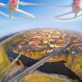 stock photo of attack helicopter  - Aerial view from drone to small town in Western Bohemia  - JPG